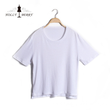 Lightweight Round Collar Solid White Regular Shirt