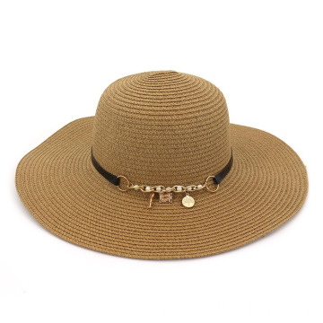 Cheap adjustable large brim paper straw bucket hat