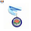 Custom flower enamel silver sports medals