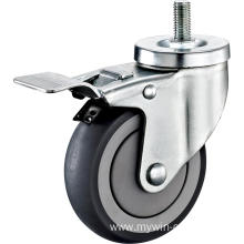2.5inch Threaded Stem Swivel Gray Round TPR With Cover Castors With Top Brake