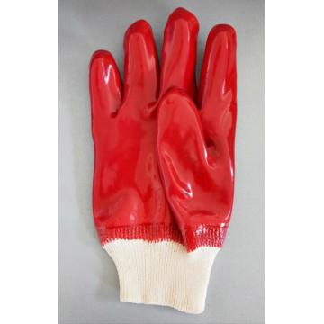 Red pvc single dipped gloves knit wrist