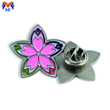 Metal Custom Enamel Peony Flower Pin