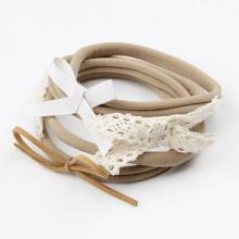 on sale 4pcs/set baby girl boy spandex nylon headband children skinny stretchy Non-Marking Lace Bowknot elastic hair Band