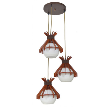 Red wood Lamp Designed Interior Decoration pendant Lighting