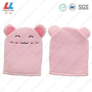 Pretty pink style animal bath gloves