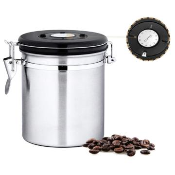 Leeseph Stainless Steel Coffee Container - Coffee Beans Canister with co2 Valve, Black