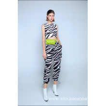 LADIES ZEBRA CROPPED JOGGERS