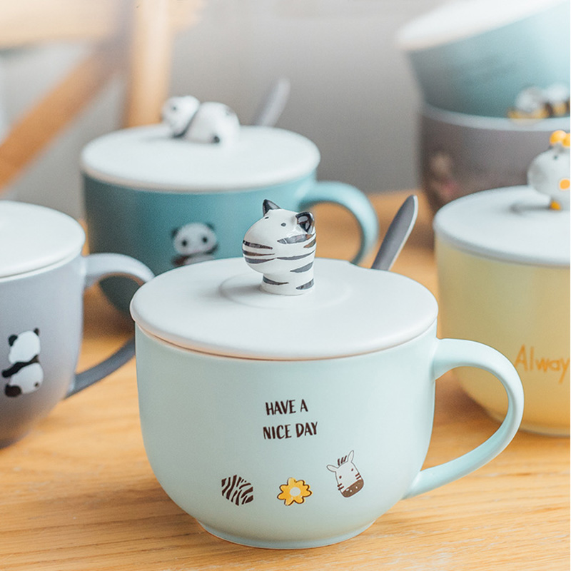 Creative cartoon large capacity mug with cover spoon cute girl heart ceramic cup home oat bowl Milk Cup