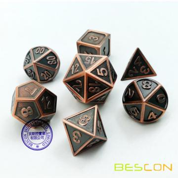 Bescon New Style Copper Solid Metal Polyhedral D&D Dice Set of 7 Copper Metallic RPG Role Playing Game Dice 7pcs Set D4-D20