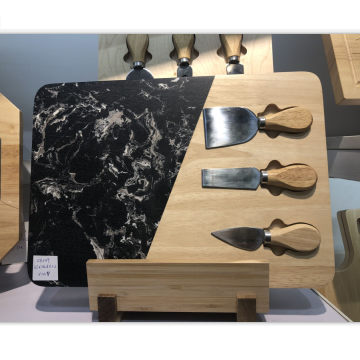 Marble & rubber wood cheese board set