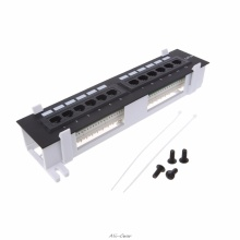 12 Port CAT5 CAT5E Patch Panel RJ45 Networking Wall Mount Rack Mount Bracket for Computer Office Network Tool