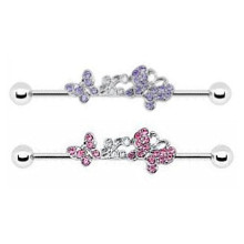 Colored Gem Soaring Butterfly Industrial Barbell