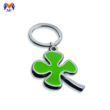 Metal personalized real four leaf clover keychain