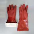 Brown rubber Sandy finish Cotton gloves 40cm
