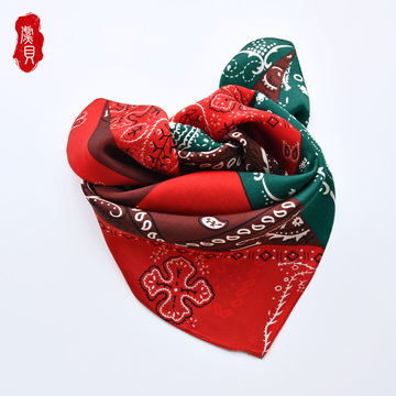 Red green 100% silk scarf femme printed cashew nut 50cm small square scarves women shawl wrap hair band for lady christmas gift