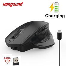 Hongsund T28 Vertical Wireless Silent Charging Mouse 6-key Wireless Mouse 2400 DPI Adjustable Healthy Mouse