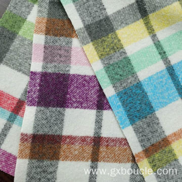Boucle fashion colorful Plaid wtih brushing fabric