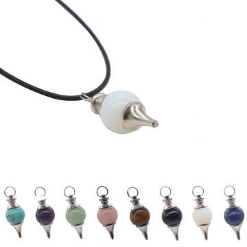 Beautiful Pendulum Dowsing Chakra Pendant with Chain Natural Gemstone Energy Healing Crystal 18MM Balls Point pendant