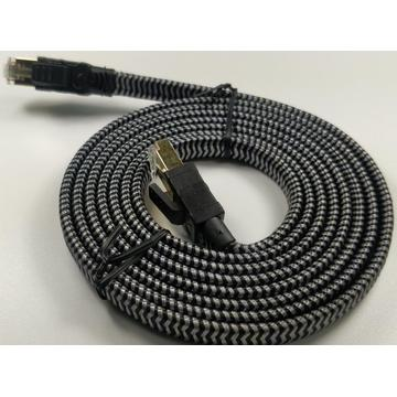 Computer Internet Cord Cat8 Flat Nylon Braided Cable