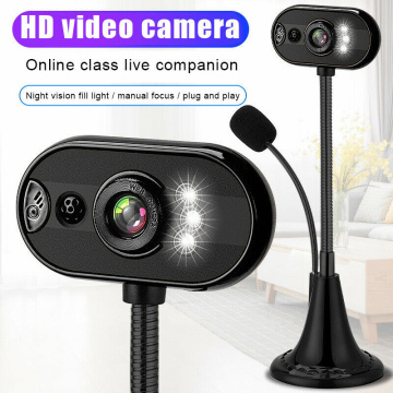 USB HD Webcam With Home Office Microphone Night Vision Function Video Camera LED With Microphone For Laptop Notebook Computer