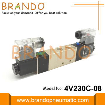 24VDC 4V230C-08 Pneumatic Valve 5 Way 3 Position