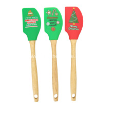 Christmas Silicone Spatula with Wooden Handle