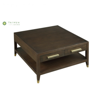 Madilim na Walnut Square Wood Doule Layer Coffee Table