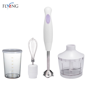 Quiet hand held blender with measure cup
