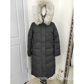 Lady black long down coat with hood