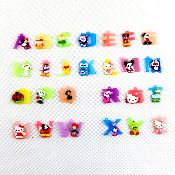 Letters With Cartoon Charms PVC Plastic Key Chain