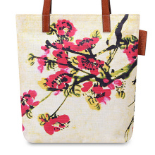 Beach style bright canvas tote bag