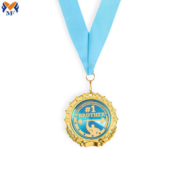 Custom blue enamel of gold metal medals