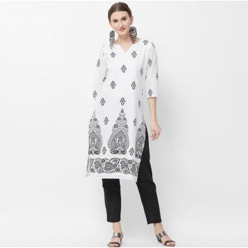 Woman Fashion Ethnic India Styles Printing Sets Cotton New India Kurtas Three Quarter Sleeves Long Thin Top