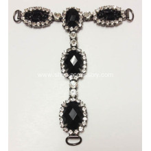 Black Stone and Rhinestone Sandals Chain for T Bar Sandals