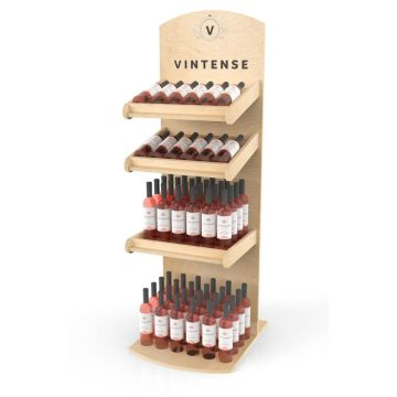 Wooden wine floor display stand for chain store
