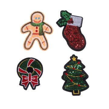 Sequin Christmas tree iron on embroidery patches