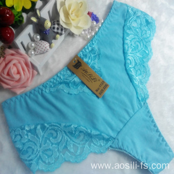 OEM wholesale China sky blue sexy thong comfortable lace elastic fancy lady underwear 1123