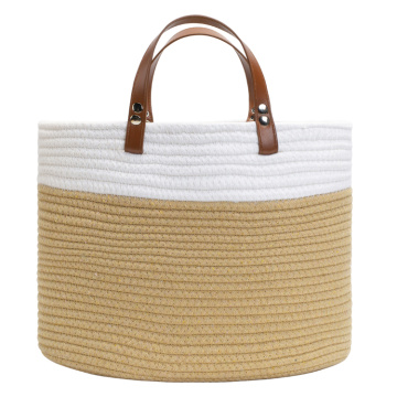 Cotton Storage Baskets With Leather Handles