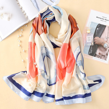 Imitation silk scarf sun block beach towel