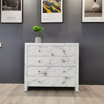 marble pattern white glass chest