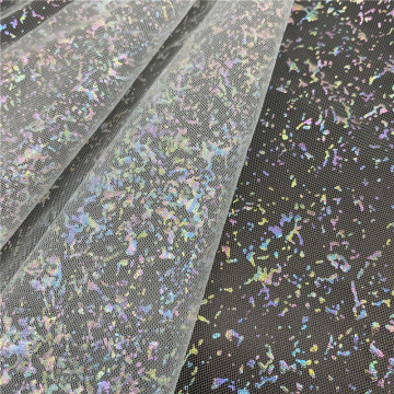100% Polyester Iridescent Foil Markings Tulle for Decoration