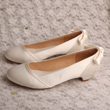 Small Heel Slip-on Wedge Heel Size 4 White Satin