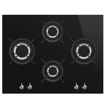 Smeg 4 Ring Gas Hobs Black Tempered Glass