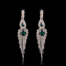 Green Crystal Fashion Dangle Earrings Silver Rhinestone