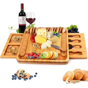 Big Rectangle Bamboo Cheese Board with Cheese Tools
