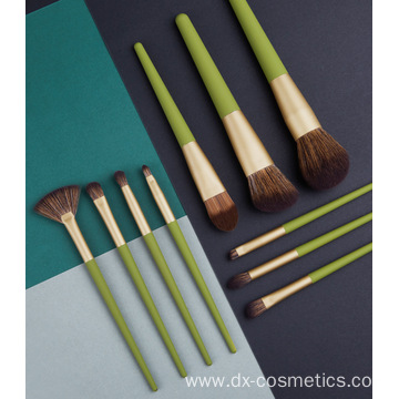 10pcs Green Wood Makeup Brush Suit