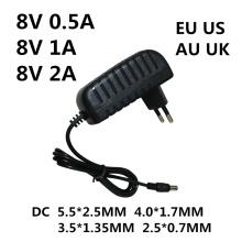AC/DC Adapter AC 100-240V DC 8V 0.5A 1A 2A AC 100-240V Converter power Adapter 8 V Volt Charger Power Supply EU US AU UK