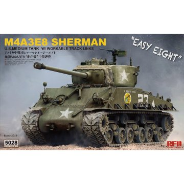 Rye Field RM-5028 1/35 US M4A3E8 Sherman with Workable Track Links Medium Tank Display Toy Plastic Assembly Building Model Kit