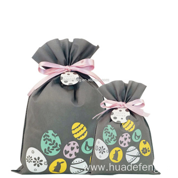 Eggs Grey Non-woven Drawstring Easter Gift Bag