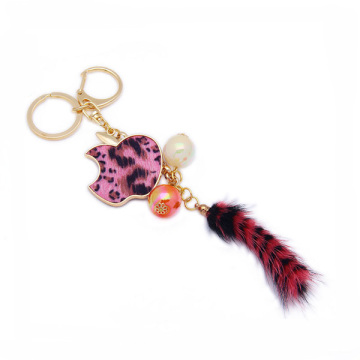 Luxury Custom Fox Fur Tail Keychain Alloy Pendant Keyring